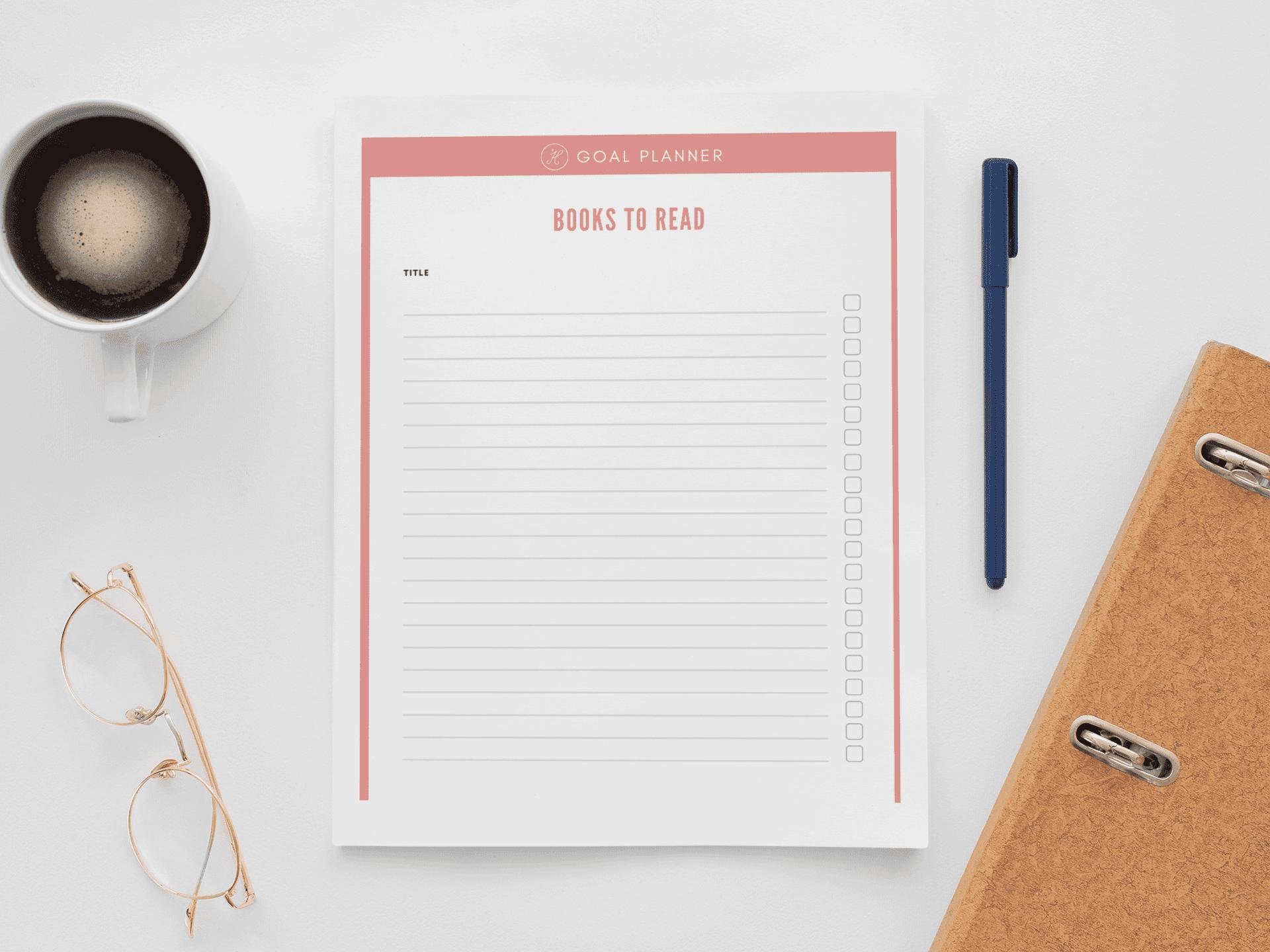 Goal Planner books to read checklist